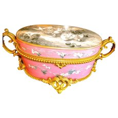 Exceptional  French Antique Opaline Glass Box Museum Quality