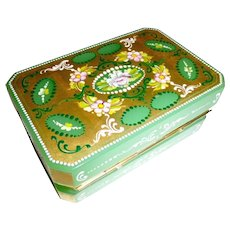 Green Opaline Glass Hinged box,Decorated, gilded and carved