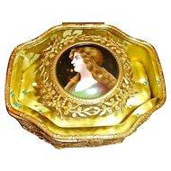 Antique Bronze box ,Glass top with Enamel on Copper Portrait