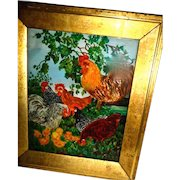 Antique  Reverse Painting on glass,Chickens Rooster