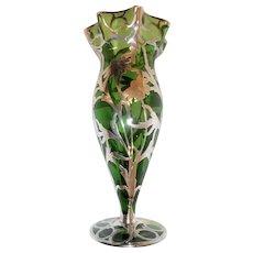Antique  Tall Sterling sliver/Glass  overlay vase, Alvin