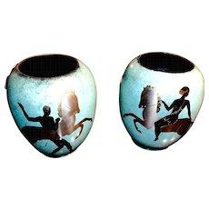 Pair of WMF enamel on copper Ikora Vases