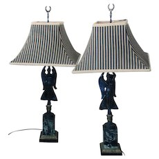 19th Bronze and Marble Lamps  Winged victory   Custom shades