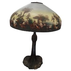 Antique hand painted Lamp w/ bronze base