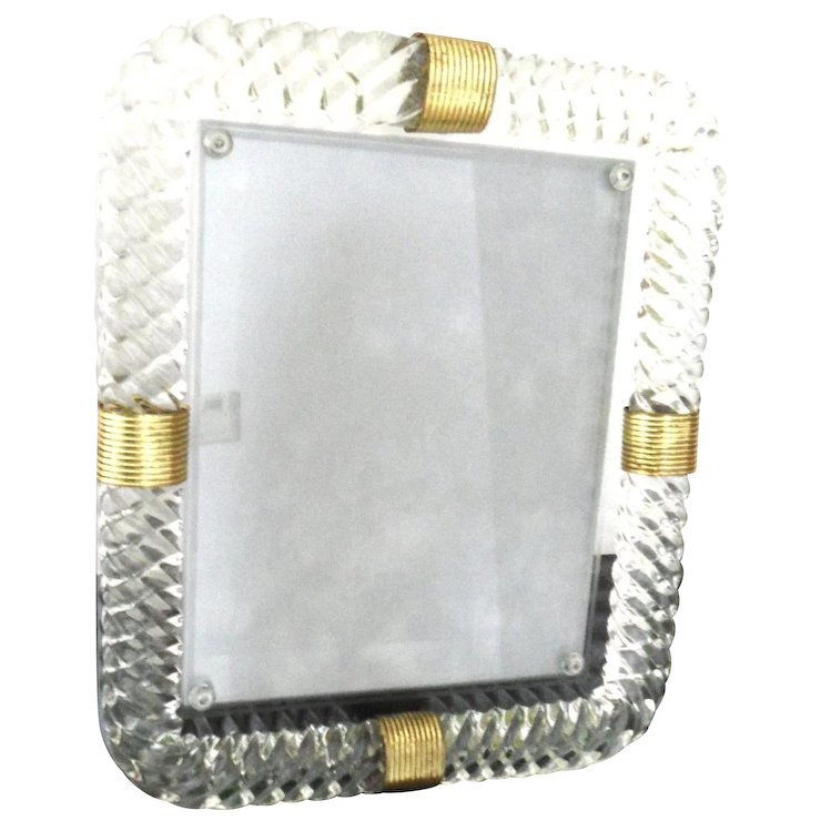 murano glass Vintage Picture Frame : Amethyst Antiques | Ruby Lane
