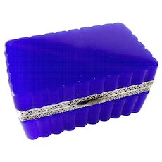 French Opaline glass box scalloped shape Brilliant blue