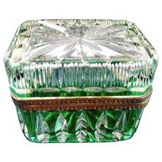 Antique Bohemian cut  Green to Clear glass box casket