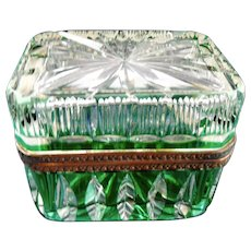 Antique Bohemian cut  Green to Clear glass box casket