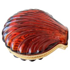 Vintage French glass box shell form Amber Color