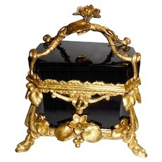 Antique 19th c. French black Opaline glass box casket  Bronze mounts
