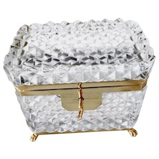 Brilliant French Cut Crystal box casket w/feet and key