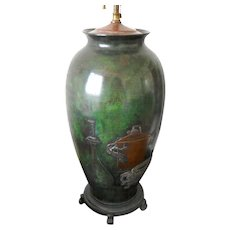 Antique Japanese  Meiji period Bronze and mixed metal  Patinated lamp