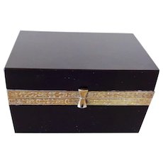 French opaline glass box  Black with bronze mounts