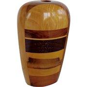 Wood Sculpture/Vase  Mid Century Signed La Montagna