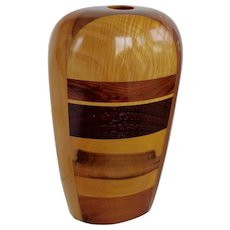 Wood Sculpture/Vase  Mid Century Signed La Montagna