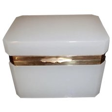 White opaline glass box rectangle