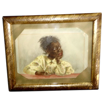 Antique 19th c. watercolor painting  young Black girl