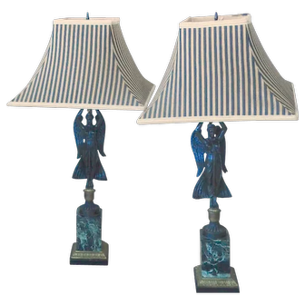 Pr  Bronze  Neoclassical wWnged Victory Lamps  with marble Bases