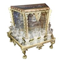 Antique  French  Baccarat Cava a Liquor  Bronze Tantalus