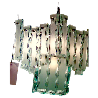 Vintage murano glass chandelier, ice blue  color