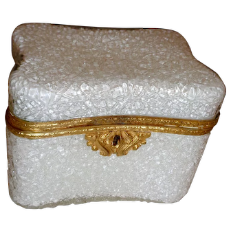 Antique Opaline glass box w/ crackle finish