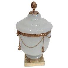 Antique  French Opaline Glass box Bronze mounts Tassels