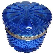 Vintage cut crystal brilliant Blue box