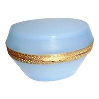 French Opaline glass box seafoam blue.  Oval shape