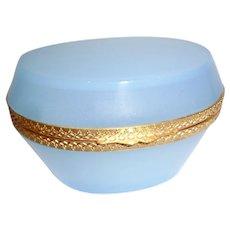 French Opaline glass box seafood blue.  Oval shape