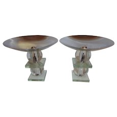 Mid century pair glass and come tazzas/candle holders