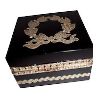Black  French opaline glass box w/ decorative design, bronze mounts