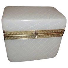 Antique Opaline glass Box with criss cross pattern