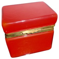 Opaline glass box Fiery Red with cased white interior