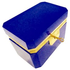 Opaline glass Brilliant Blue box with Key