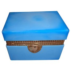 Antique,Opaline glass box   Turquoise , bronze mounts