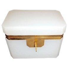 Opaline glass box  white ,  bronze mounts with key