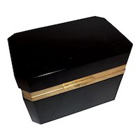 Black Opaline glass box  French Cenedese