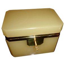 Vintage Opaline glass box Butterscotch color
