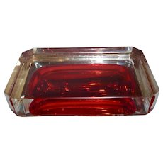 Mid century Murano Sommerso Glass box , Red,Clear