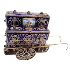 Antique Enameled, gilded silver Music box, form of Organ grinders cart