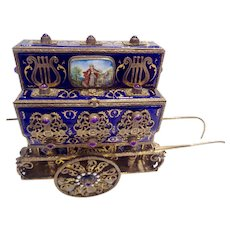 Antique Music box form of organ grinders Cart