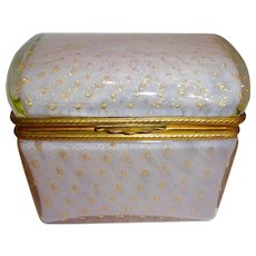 Pale Pink Opaline glass box,  controlled bubbles,Gilded flecks