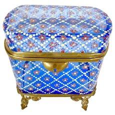 Antique Bohemian glass  blue box