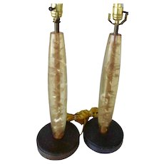 Pair Mid century Resin Lamps