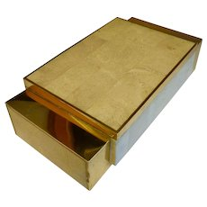 Maitland Smith Tasselated marble and brass  box