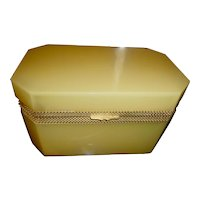 Large French Opaline glass box, Carmel colored