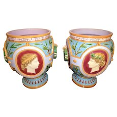 Antique Minton Majolica Pair of Jardinieres