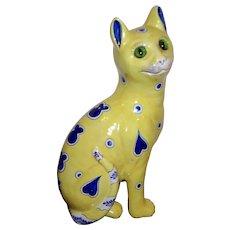 Emile Galle  signed ceramic cat