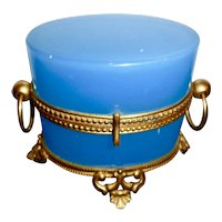 Antique French  Blue opaline glass box, gilt bronze mounts