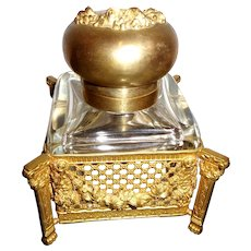 Antique French inkwell  glass and brass